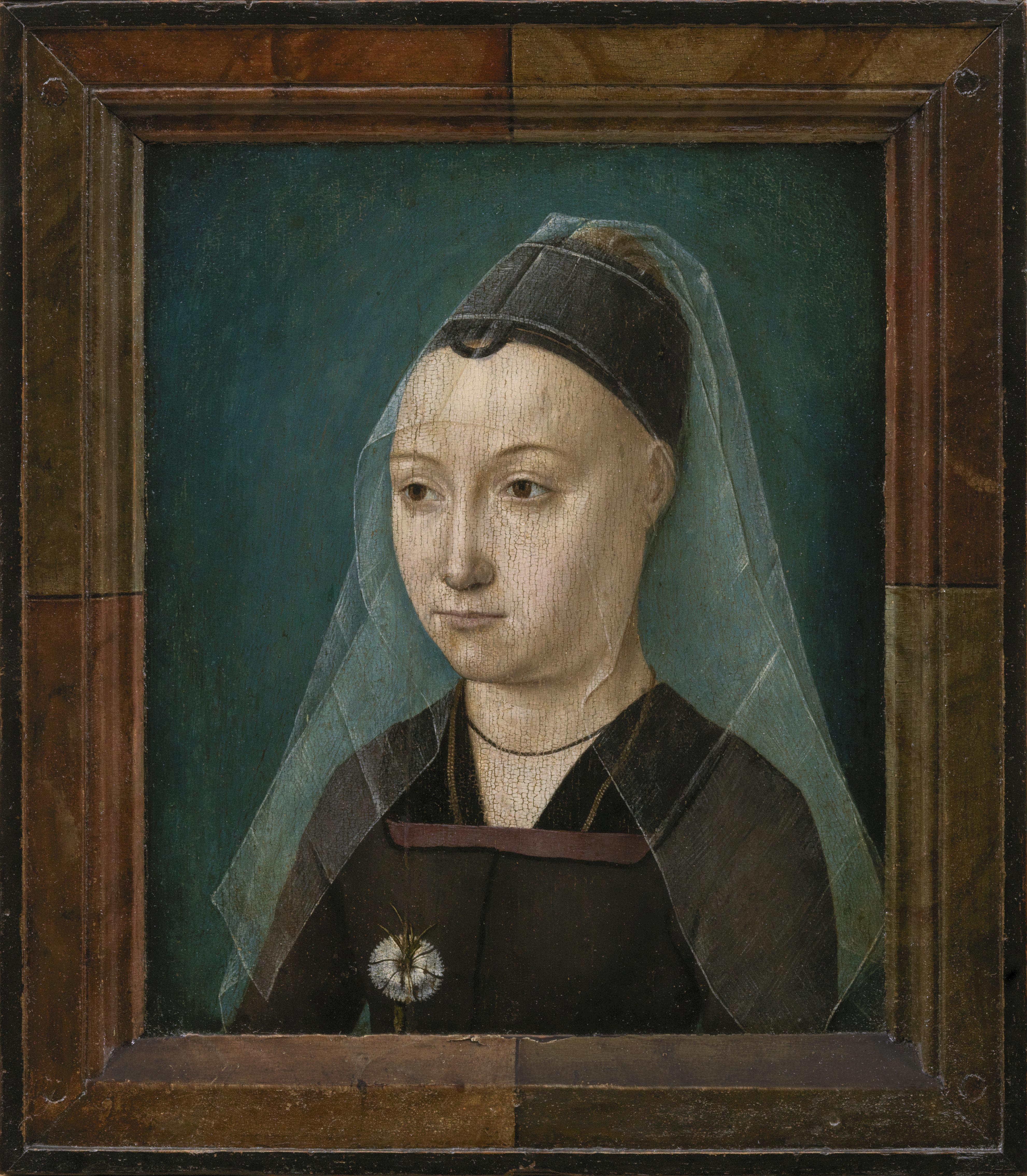 Portret van een dame met anjer