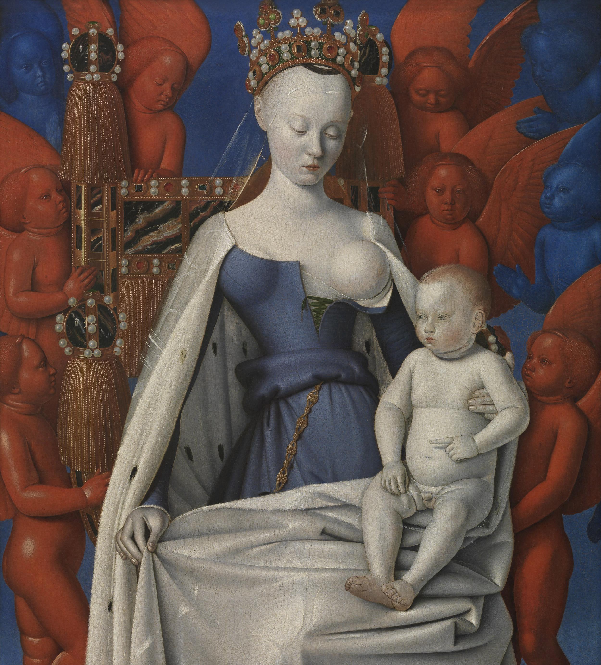 Jean Fouquet (1410/1430 - 1477/1481), Madonna omringd door serafijnen en cherubijnen (1454-1456), Koninklijk Museum voor Schone Kunsten Antwerpen. Foto Lukas-Art in Flanders - Hugo Maertens.
