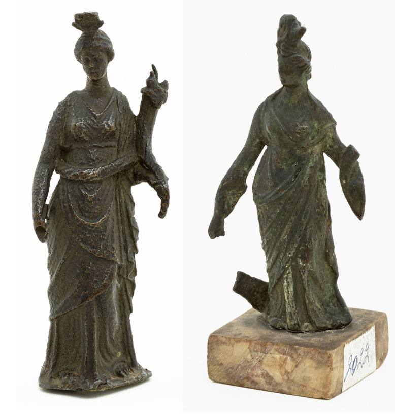 Twee Isis Fortuna-beeldjes