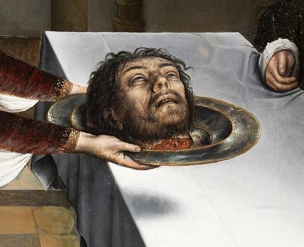 Juan de Flandes, Feestmaal van Herodes, detail hoofd Johannes