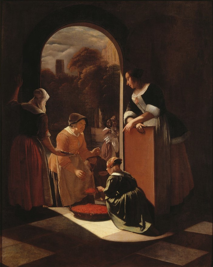 Jacob Ochtervelt, De Kersverkoopster, 1600-1699.
